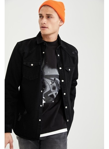 DeFacto Regular Fit Uzun Kollu Jean Gömlek Siyah